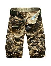 Elonglin Men's Vintage Cargo Shorts Relaxed Casual 100% Cotton Bermudas Straight NO Belt