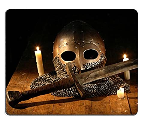 Liili Natural Rubber Mouse Pad Medieval knight sword and helmet near candles IMAGE ID 22425322 (Ottoman Helmet)