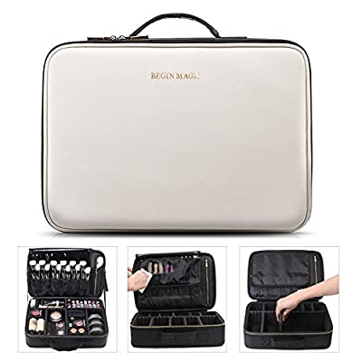 BEGIN MAGIC Professional Makeup Train Case / Travel makeup bag / Beautify Large Cosmetic Organizer Case (black / white)