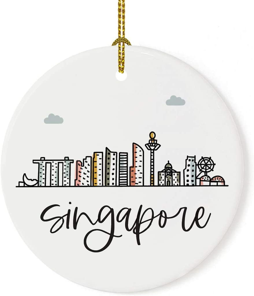 Andaz Press Round Ceramic Porcelain Christmas Tree Ornament Keepsake Gift, Singapore, Colorful International City Skyline Graphic, 1-Pack, Birthday Ideas Family Coworker Him Her, Gift Box