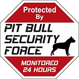 Amazon Com Pit Bull Security Force Sign Pitbull Signs