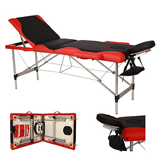Goujxcy Massage Table Portable Spa Bed, 3 Section Foldable Beauty Table, Height Adjustable Salon Bed, 496 LBS Weight Capacity, 72.83 x 23.62 x 32 Inch, Black Red