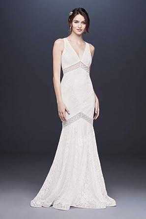 V Neck Lace Illusion Mermaid Wedding Dress Style Wg3950 Soft White