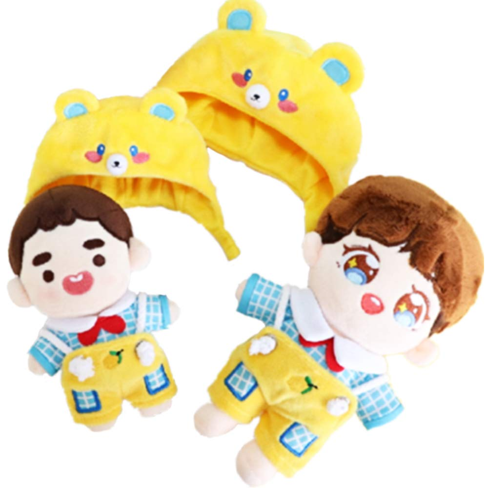 VogueMing Shinee Wanna one EXO BTS Jungkook SUGA Plush Doll s Clothes T-Shirt+Rompers+Hat【no Doll】