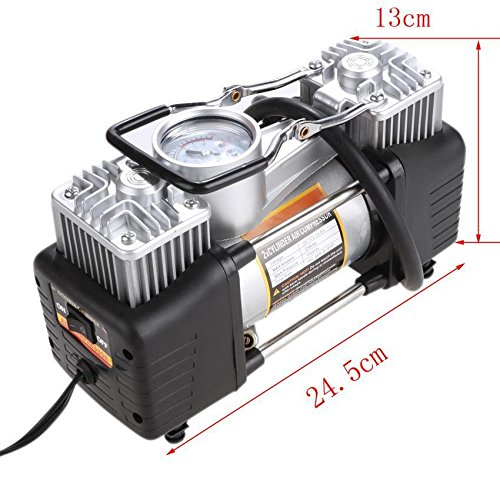 Hindom DC 12V Air Compressor Tire Inflator - 150 PSI Double Cylinder Inflatable Pump with Gauge & Light for Car, Bike, SUV Tires, Dinghy,Air Bed