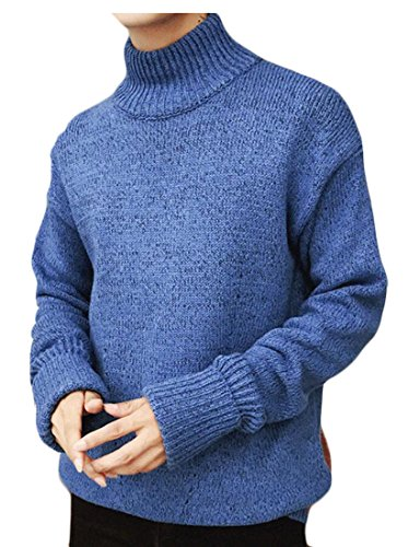 Fit amp;S Sleeve Long Casual amp;W Pullover Blue Neck Turtle M Men's Sweater ITBq8wUU