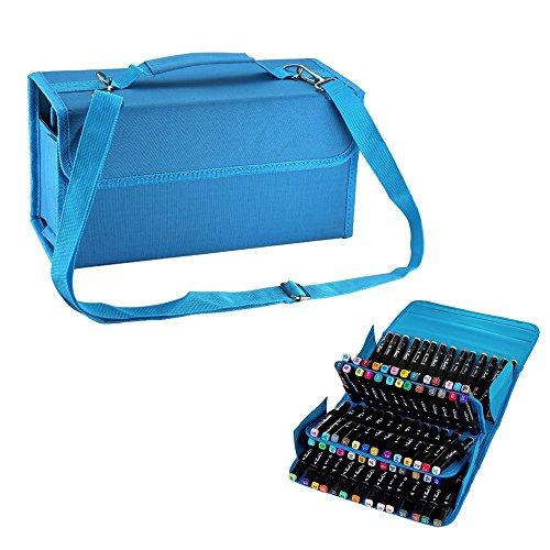 Makeup Marker Liquid - SENREAL Blue Large Capacity Pen Bag 80 Slots Pencil Organizer Durable Students Stationery Marker Pen Case Cosmetic Bag (blue 80slots)