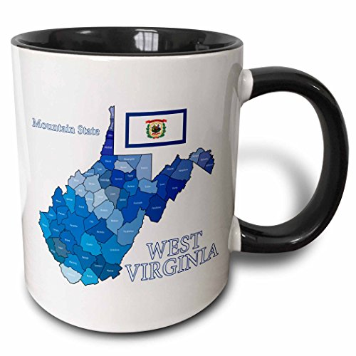 West Virginia County Maps - 3dRose 219693_4 Flag And County Map Of West Virginia With State Name And Nickname Mug, 11 oz, Black