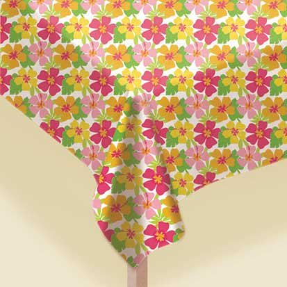 Floral Paradise Warm Plastic Tablecover