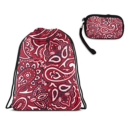 Girls & Boys Travel Swim Drawstring Backpack, Paisley Bandana Shoulder Backpack, Water Resistant, Home Travel Storage Use + Zip Smartphone Wristlets Purses - Bottle Park Paisley Bag