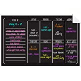 Dry Erase Weekly Calendar Black Fluorescent Wall Cling