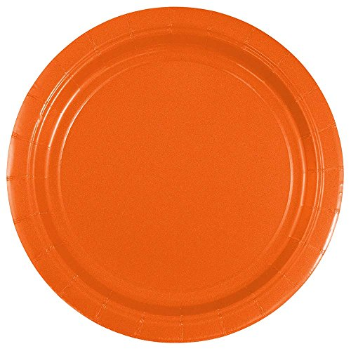 JAM PAPER Round Paper Party Plates - Small - 7 Inch - Orange - 50/pack
