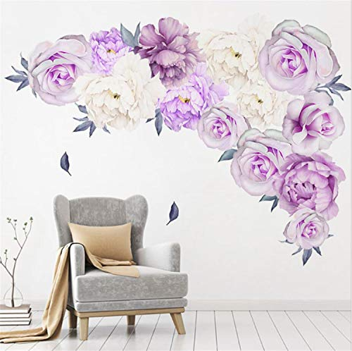 Amtoodopin Peony Flowers Wall Sticker Rose Floral Wall Decals Vintage Flower Wall Decor Removable Wall Mural for Nursery Living Room (Nursery Lilac Decor)