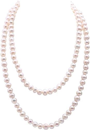 JYX Pearls - Collar largo con cadena de jersey de 9 – 10 mm, color blanco cerca de redondo, perlas de agua dulce collar de 117 cm