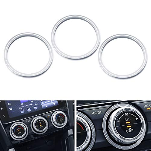 iJDMTOY 3pcs Anodized Aluminum AC Climate Control Knob or Outer Ring Cover For Subaru WRX, STI, Impreza, Forester, XV Crosstrek (Outer Ring Covers, Silver)
