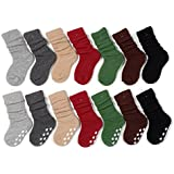 Eforstore 7 Pack Winter Warm Children Fashion Cotton Ruffle Knee-Socks Anti-skid Particles Socks for Kids Girls Boys 4 Size Available Color Radom