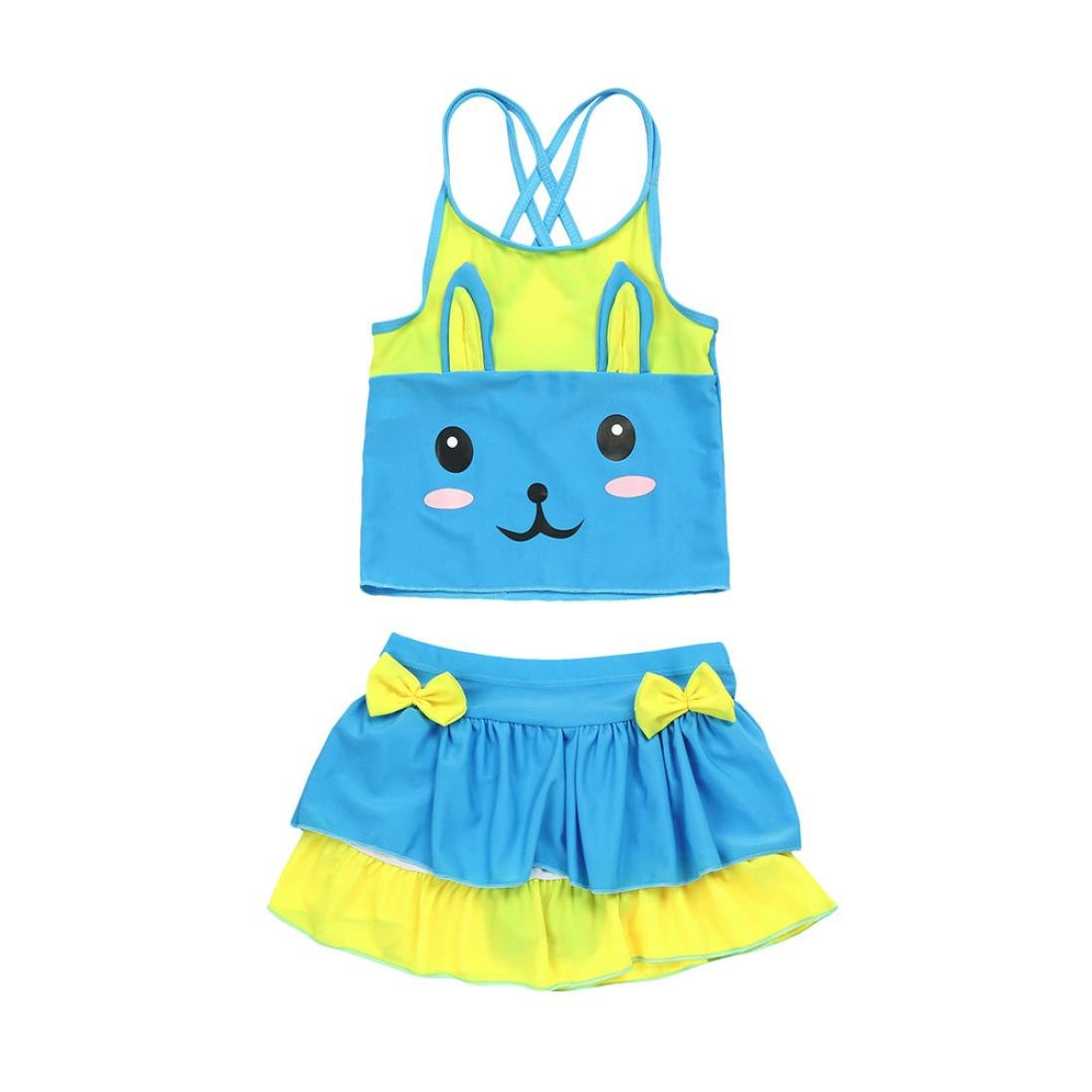 Little Girls Lovely Bathing Suits Size 5-7 Years 2 Pieces Cat Ears & Bow Bikinis Sets Blue)