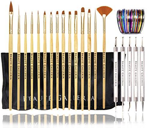 Beaute Galleria Bundle 50pcs Nail Art Tool Kit With Pouch: 5pcs Dotting Tool Marbleizing Pen (10 Sizes), 15pcs Acrylic Gel Detailing Painting Liner Brushes, 30pcs Striping Tapes by Beaute Galleria