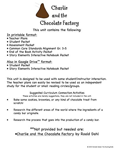 Amazon.com : Charlie and the Chocolate Factory Novel Study Unit CD ...