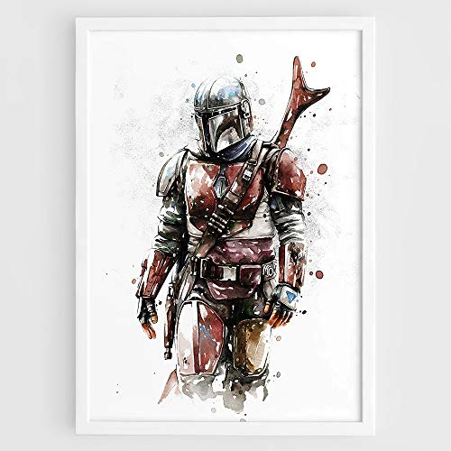 The Mandalorian Star Wars TV Series, Baby Yoda Mando, Boba Fett Mandalorian christmas gifts - Wall Art Film Print Poster Watercolor Painting