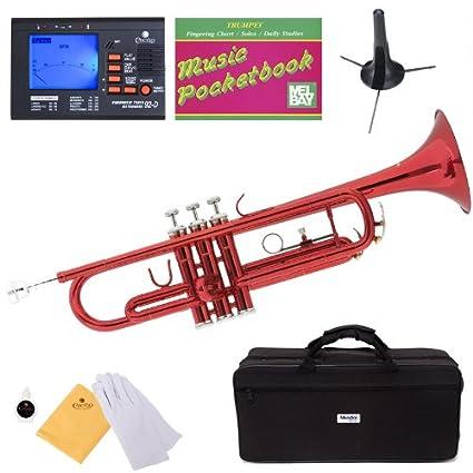 Mendini MTT-BL Lacquer Brass Bb Trumpet, Blue Cecilio Musical Instruments MTT-BL+SD+PB+92D