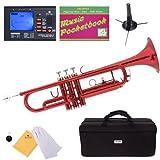Mendini MTT-RL Lacquer Brass Bb Trumpet, Red