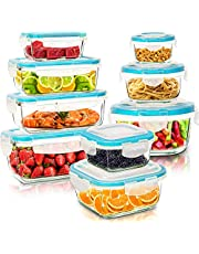KICHLY [18-Pieces] Glass Food Storage Containers with Lids - Glass Meal Prep Containers with Transparent Lids BPA Free and FDA Approved (9 Containers and 9 Lids)