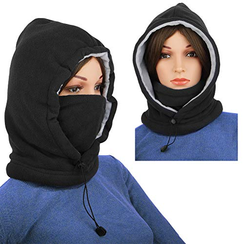 Men Balaclava Fleece Hood Winter Face Mask Head Warmer Face Warmer for Snowboarding Dog Jogging ()