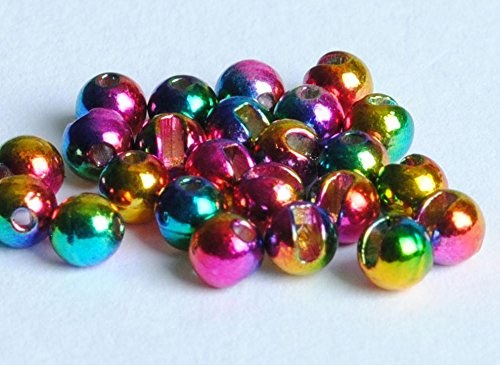 Blue Wing Olive Slotted Tungsten Beads for Fly Tying- 25 Pack (Rainbow, 2.4 mm ()