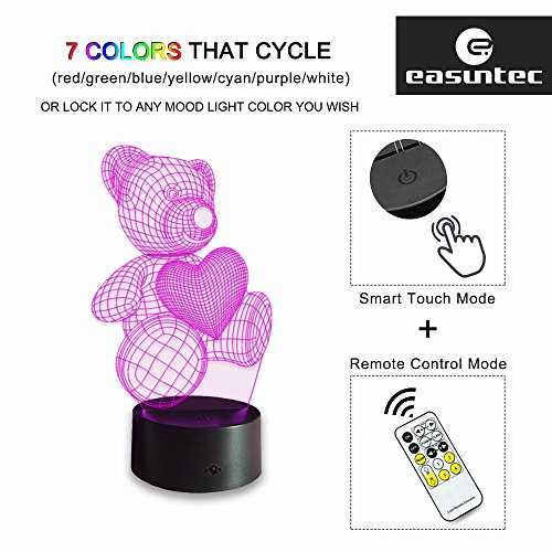 Night Lights for Kids Teddy Bear 7 Colors Change with Remote 3D Nightlight Help Kids Fell Safe at Night or As A Gift Idea for Women or Girls by Easuntec (Teddy Bear Heart) by Easuntec (Image #3)