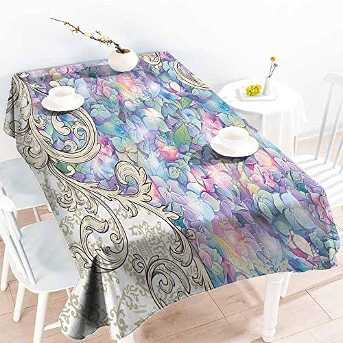 Waterproof Tablecloth Ornaments Hydrangeas Romantic Flowers with Cream Color Baroque for Her Special Collection Art Nouveau Design Decor Lilac Washable Tablecloth W60 xL84 - Nouveau Square Charm