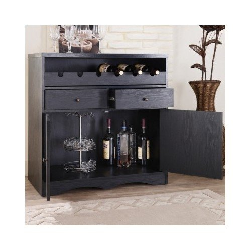 Wooden Wine Cabinet Rack Liquor Bar Stemware Storage Buffet Entertainment Furniture Black Cherry (Black)