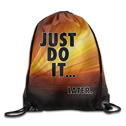 CHJOO Just Do It Later Gym String Bag Drawstring Backpack ()