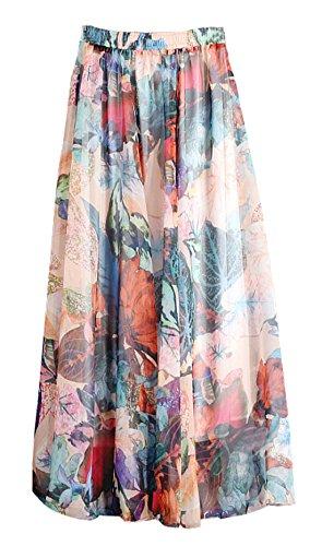 de Jupe Maxi t de Plage Jupes Fashion Mousseline Couleur Plisse Fte Femmes Impression IFSSnB