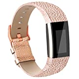 (US) Vancle Fitbit Charge 2 Band,Luxury Genuine Leather Replacement Strap for Fit bit Charge 2(No Tracker) (Pink Gold)