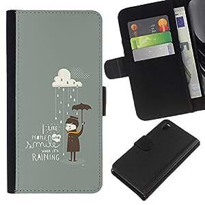 KLONGSHOP // Tirón de la caja Cartera de cuero con ranuras para tarjetas - Paraguas Gris Nube Cita Emo Sad - Sony Xperia Z3 D6603 //