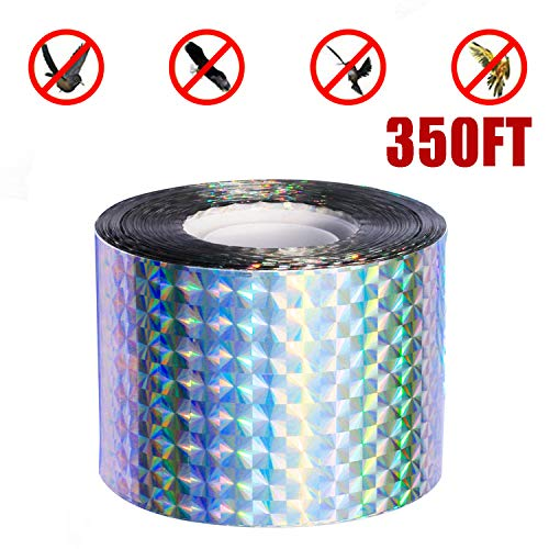 (Bird Repellent Scare Tape,Bird Deterrent 350FT Bird Flash Tape Effective for Pigeons Woodpeckers Grackles and More,Protect Your Fruit Trees, Garden or Boats)