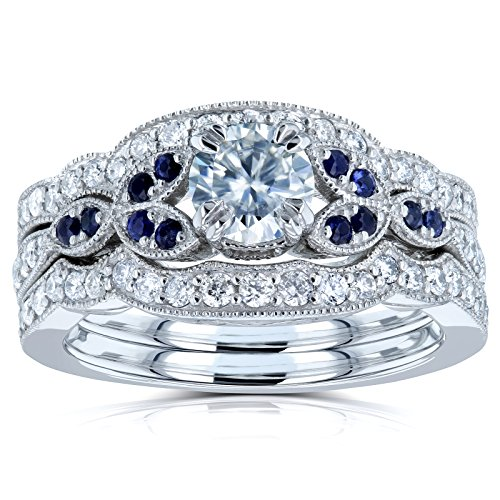 Floral Round Moissanite Double Band Bridal Set with Diamond and Sapphire 1 CTW 14k White (DEF/VS, GH/I, Blue), 10.5