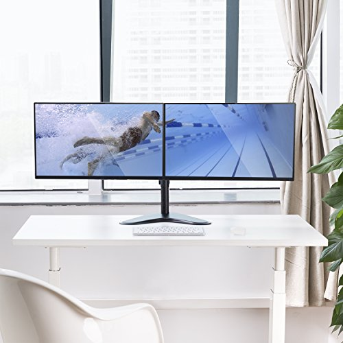 Dual Monitor Stand, Free Standing Height Adjustable Two Arm Monitor Mount for Two 13 to 32 inch LCD Screens with Swivel and Tilt, 17.6lbs per Arm by HUANUO