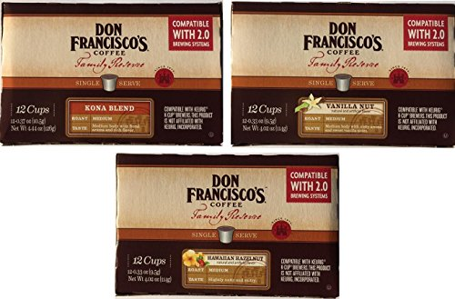 Don Francisco Family Reserve Single Serve K-Cup Coffee Variety Pack (36 count K-Cups); Kona Blend, Vanilla Nut and Hawaiian Hazelnut (Don Francisco Coffee K Cups compare prices)