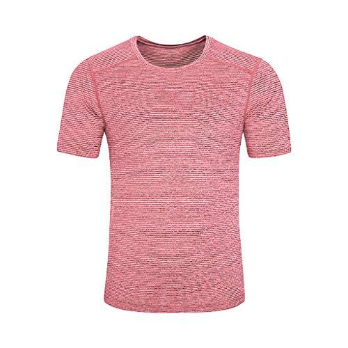 (POQOQ T Shirt Men's Short Sleeve Men's Tee Tee Men's Sweat Proof Undershirt with Underarm Sweat Pad, Slim Fit, Crew Neck M Watermelon)