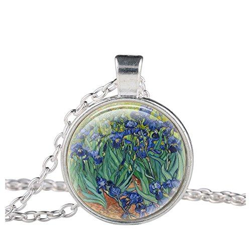 Van Gogh Painting Costume (FM42 Silver-tone Irises by Vincent Van Gogh Round Pendant Necklace TN2258)
