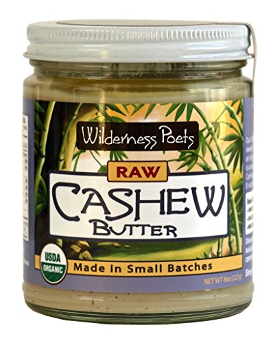 Wilderness Poets Cashew Butter - Organic & Raw - Cashew Nut Butter - 8 oz (227 g) Glass Jar