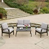 Christopher Knight Home 235786 Voyage Outdoor Wicker Sofa Set, Brown