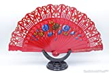 hand painted spanish fan - Quality Spanish Flamenco Vintage Both Side Hand Painted Dance Wooden Folding Hand Held Fan on Plastic Base (Red)