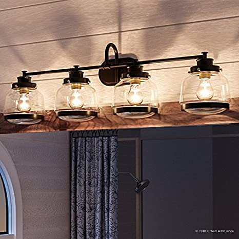 Luxury Industrial Chic Bathroom Vanity Light Large Size 11 25 H X 35 75 W With Art Deco Style Elements Olde Bronze Finish Uhp2541 From The Nottingham Collection By Urban Ambiance Amazon Com