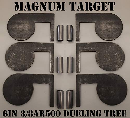 6in. 3/8in. AR500 Steel Shooting Range Targets - Metal Dueling Trees w/Tubes