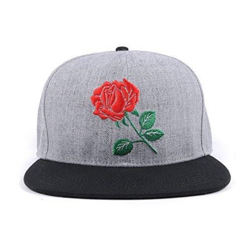 AUNG CROWN Rose Embroider Flat Bill Snapback Hats Women Men Snap Back Caps Grey ()