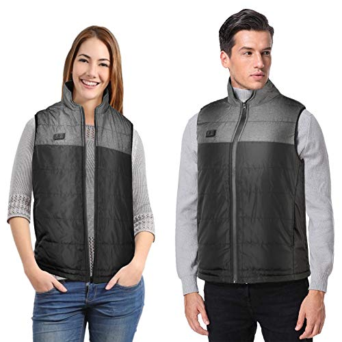 Heated Vest for Men Women Electric Heating Vests Warm Heat Jacket Carbon Fiber Heating Dual-Switch Body Warmer Adult Lightweight Winter Thermal Vest Washable Outdoor Hiking Fishing Skiing (L, Black)