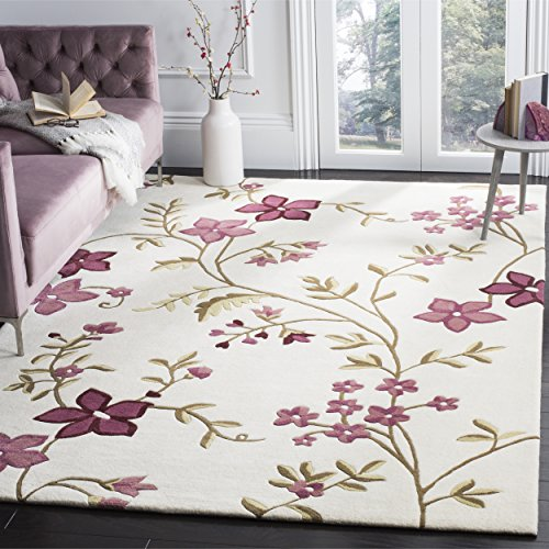 (Safavieh Capri Collection CPR354A Handmade Ivory and Purple Premium Wool Area Rug (8' x 10') )
